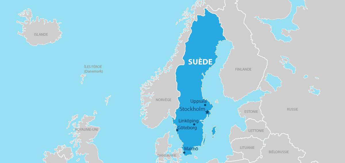 Suède carte géographique