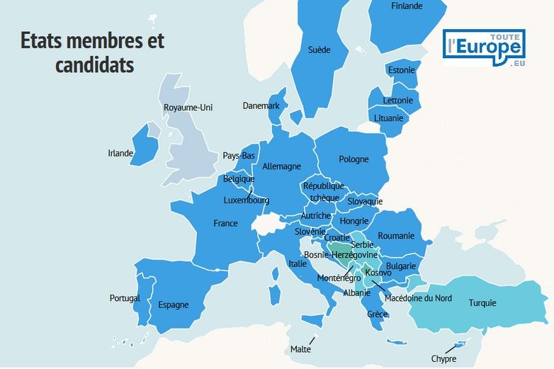 Carte des Etats membres et candidats à l'Union européenne - Crédits : Toute l'Europe / Infogram