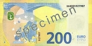 Billet de 200 euros série Europe, verso