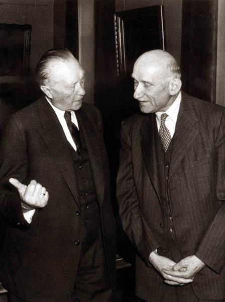 Robert Schuman et Konrad Adenauer