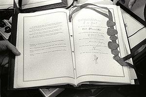 La page des signatures du traité CEE, 25 mars 1957