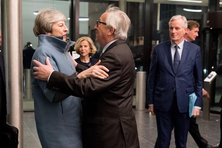Theresa May, Jean-Claude Juncker et Michel Barnier le 11 mars 2019 Strasbourg - Crédits : Etienne Ansotte / Commission européenne