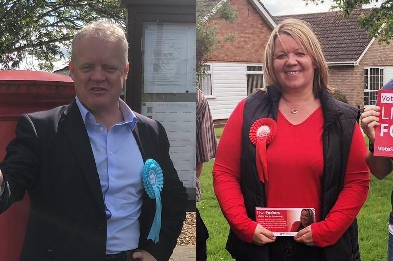 De gauche à droite : les candidats Mike Greene (Brexit Party) et Lisa Forbes (Labour) à l'élection législative partielle dans la circonscription de Peterborough - Crédits : comptes Twitter