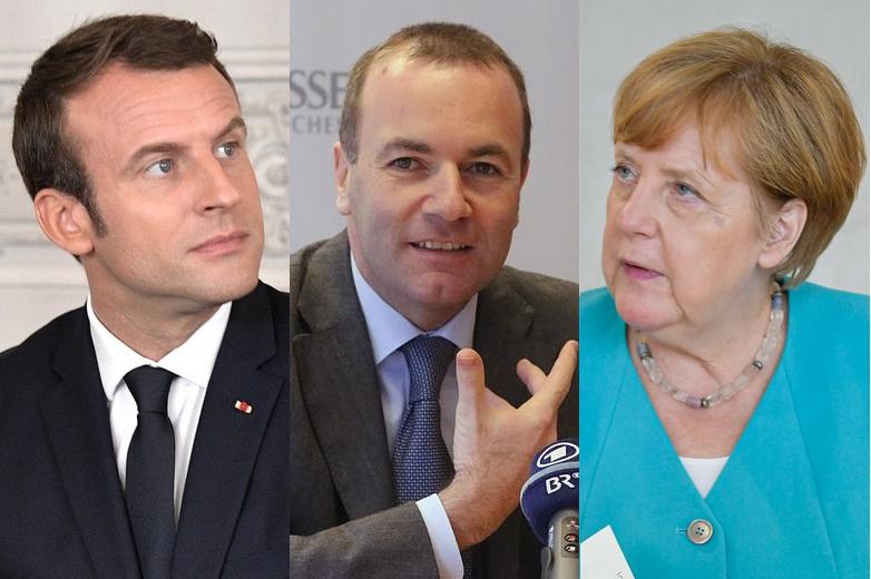 De gauche à droite : Emmanuel Macron, Manfred Weber et Angela Merkel - Crédits : Wikimedia Commons / Wikimedia Commons / Flickr CC BY-NC-ND 2.0