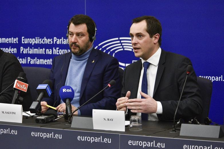 De gauche à droite : Matteo Salvini (Lega) et Nicolas Bay (RN) - Crédits : Parlement européen