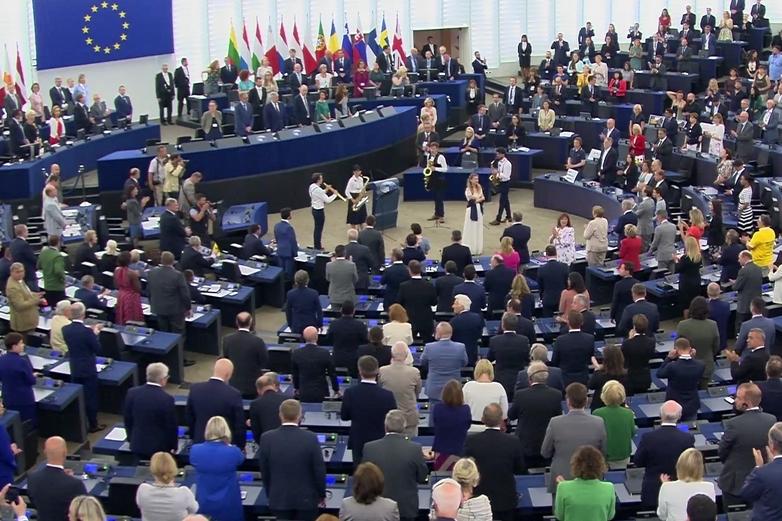 Capture d'écran de la séance d'inauguration du Parlement européen à Strasbourg le 2 juillet