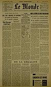 Une du Monde - 26 mars 1957- Pierre Drouin