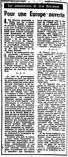 Article de La Croix - 27 mars 1957 - Jean Boissonnat