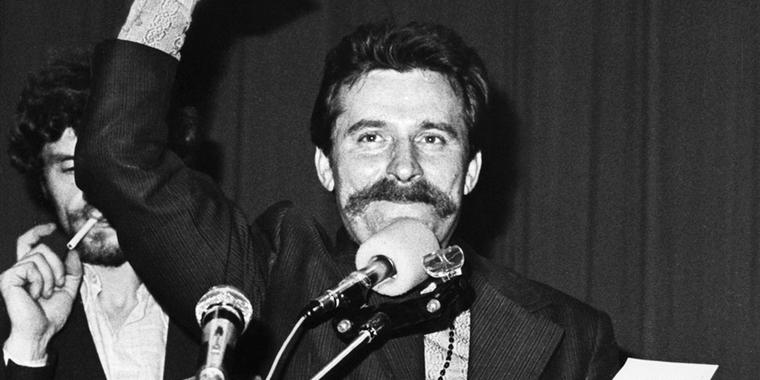 Lech Wałęsa, leader de Solidarność, en 1980 - Crédits : Giedymin Jabłoński / Wikimedia Commons CC BY-SA 3.0