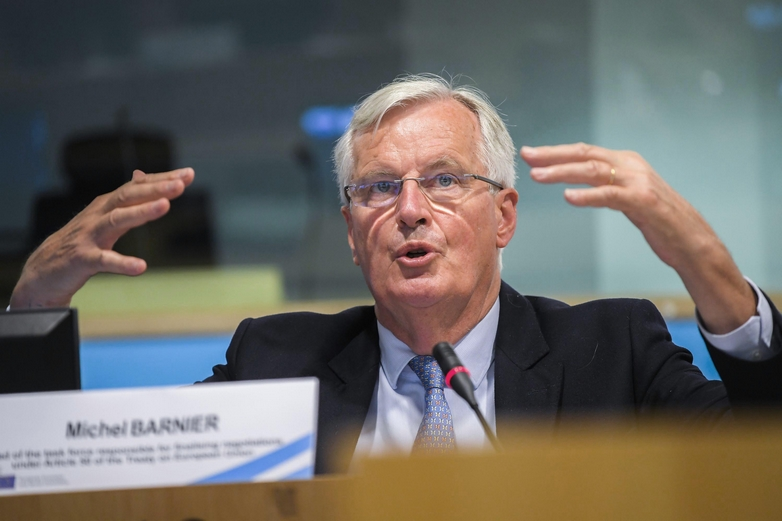 Face au Comité économique et social européen (CESE), Michel Barnier a rappelé mercredi 10 juin les exigences européennes dans les négociations avec le Royaume-Uni, mais a aussi montré quelques signes d'ouverture - Crédits : CESE