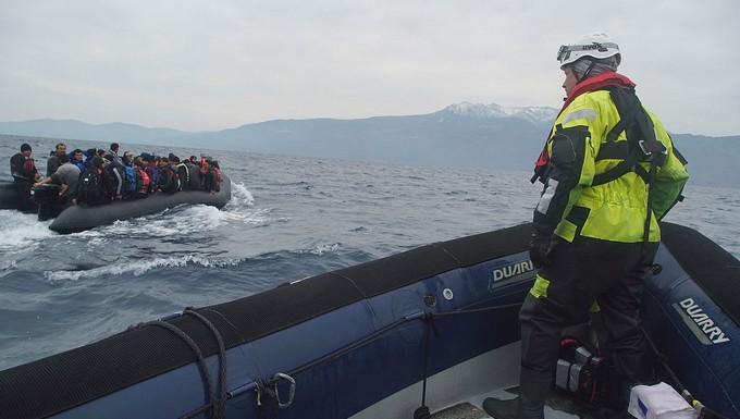 Réfugiés secourus en Méditerranée en janvier 2016 aux larges de Lesbos (Grèce)
