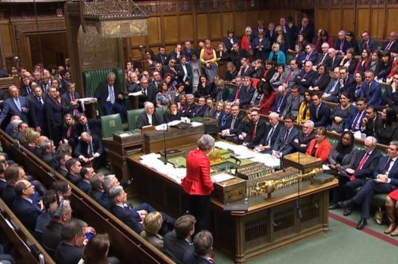 Theresa May à la Chambre des communes après le vote, le 12 mars 2019