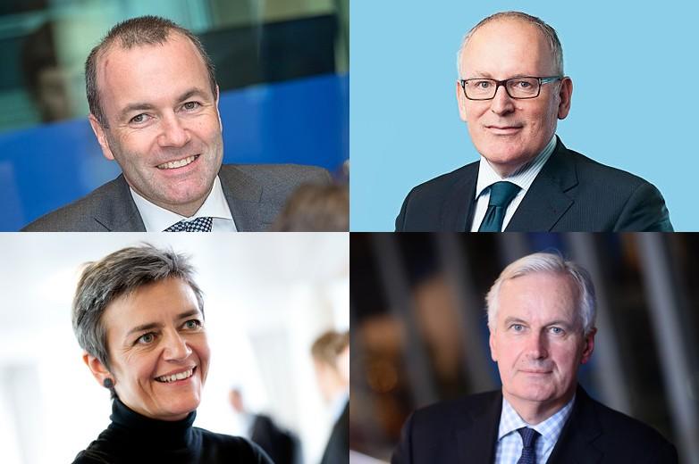 De gauche à droite et de haut en bas : Manfred Weber, Frans Timmermans, Margrethe Vestager, Michel Barnier