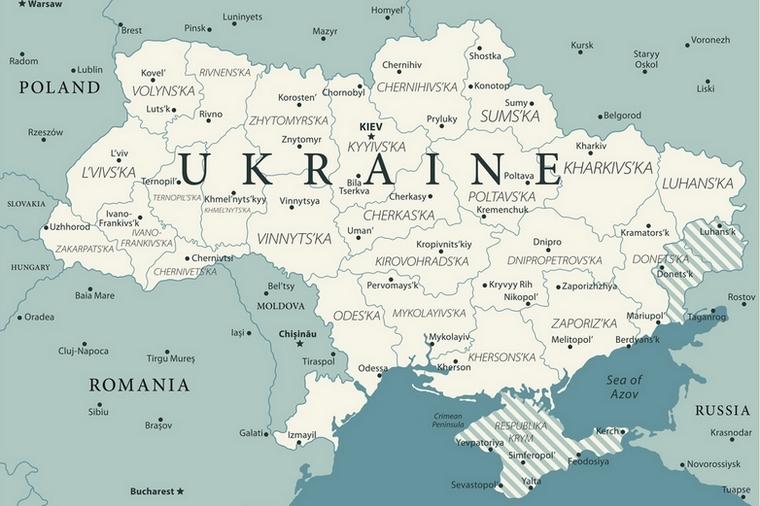 Carte de l'Ukraine. A l'Est, les provinces de Louhansk et Donetsk formant le Donbass. La partie hachurée est contrôlée par la République populaire de Donetsk et la République populaire de Lougansk. L'Ukraine contrôle l'ouest et le nord de ces provinces. Au