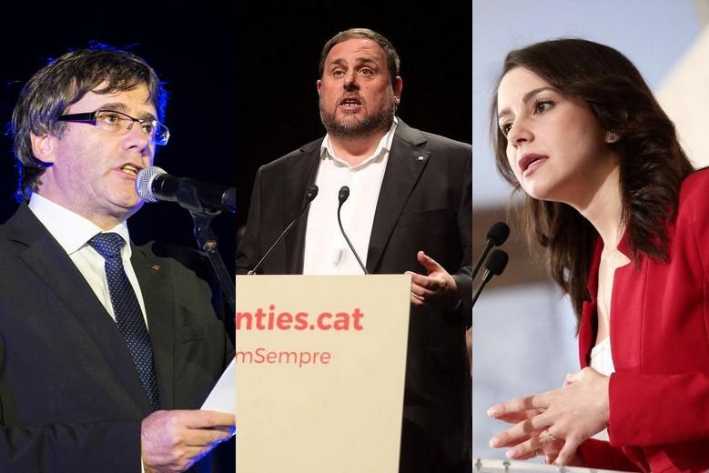 Carles Puigdemont, Oriol Junqueras et Inés Arrimadas