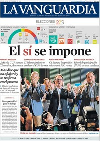 Une de La Vanguardia, le 28 septembre