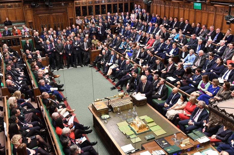 Boris Johnson défendant sa proposition de loi sur le Brexit devant la Chambre des communes lors de la première lecture du texte, en décembre 2019 - Crédits : Jessica Taylor / Flickr UK Parliament CC BY-NC 2.0