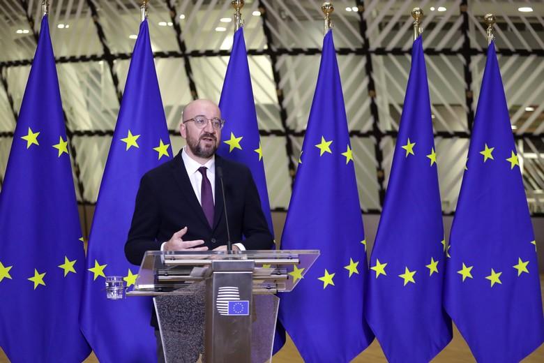 Le président du Conseil européen Charles Michel, à l'issue de la visioconférence des chefs d'Etat et de gouvernement des 27 / Crédits : Union européenne