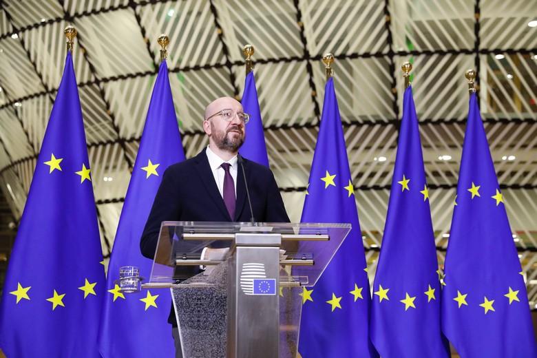Le président du Conseil européen Charles Michel lors du sommet du 26 mars où partisans et critiques de l'option des corona bonds se sont affrontés pendant six heures de discussions tendues / Crédits : Union européenne