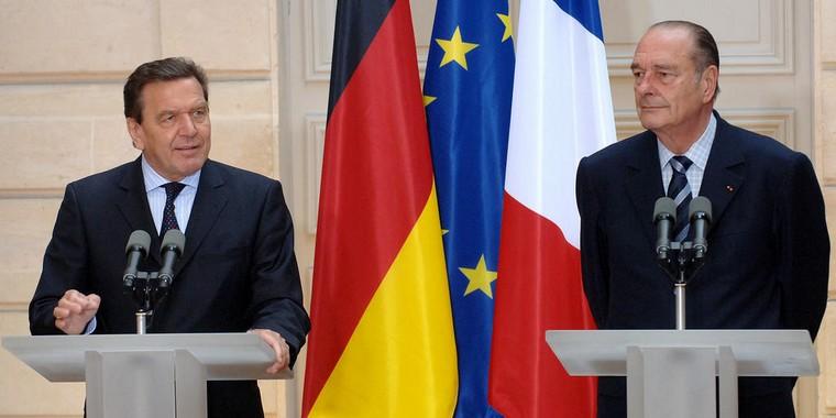 Gerhard Schröder et Jacques Chirac en 2005 à Paris