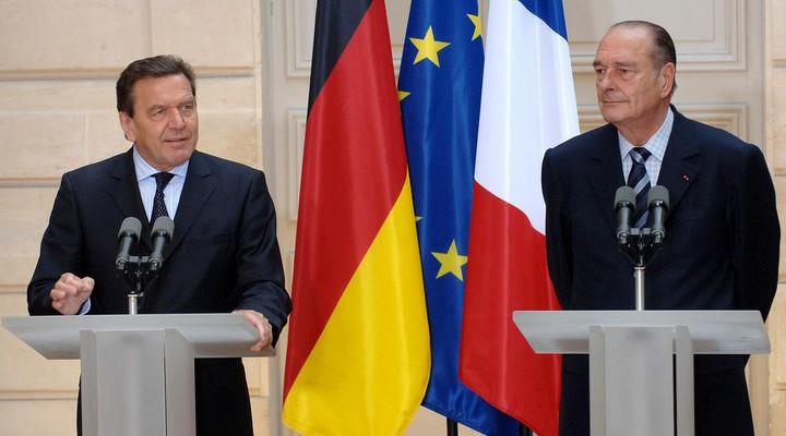 Jacques Chirac, avec Gerhard Schröder, en 2005