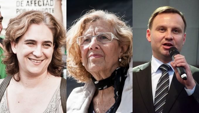 De gauche à droite : Ada Colau, Manuela Carmena et Andrzej Duda