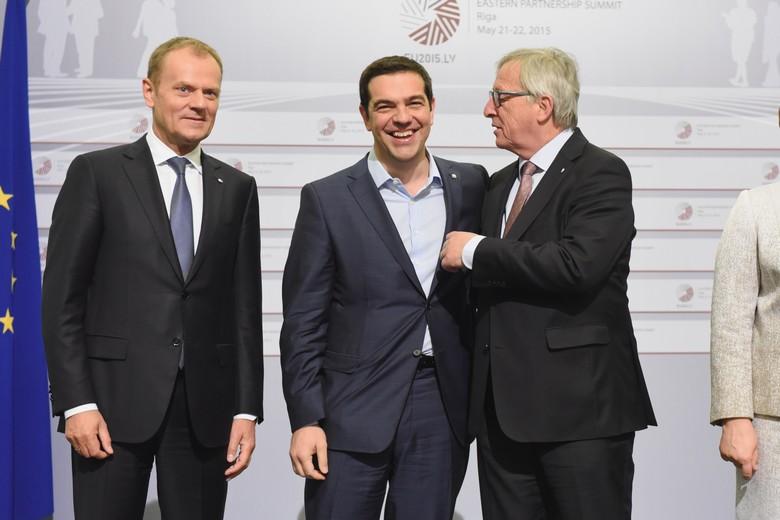 Donald Tusk, Alexis Tsipras et Jean-Claude Juncker, 22 mai 2015