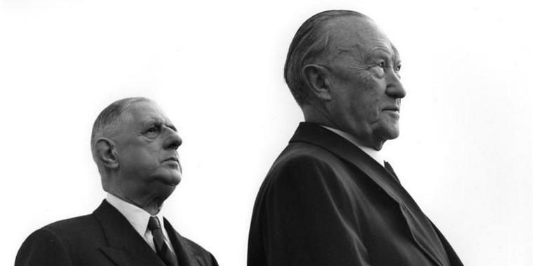 Le général de Gaulle et Konrad Adenauer, à Cologne en 1961
