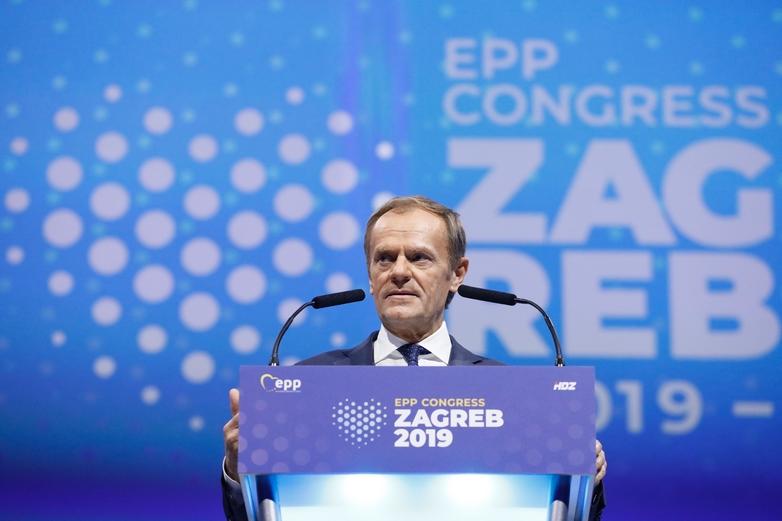 Donald Tusk, lors de son discours d'investiture, au congrès du PPE à Zagreb le 20 novembre 2019 - Crédits : Dario Pignatelli / European Council