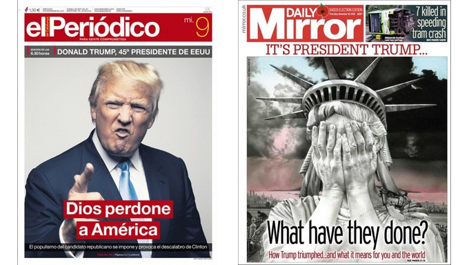 Unes du Periodico (Espagne) et du Daily Mirror (Royaume-Uni) sur l'élection de Donald Trump à la tête des Etats-Unis