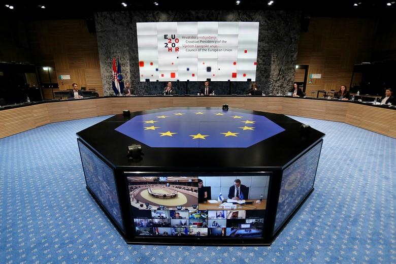 Sous la présidence du ministre croate des Finances, les ministres européens des Finances se sont réunis par visioconférence pour échanger leurs positions sur le plan de relance de la Commission européenne - Crédits : Conseil de l'UE