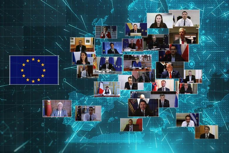 Un mois après leur dernière réunion par visioconférence, les 27 chefs d'Etat et de gouvernement tiennent un nouveau sommet à distance jeudi 23 avril pour apporter une réponse commune à la crise économique