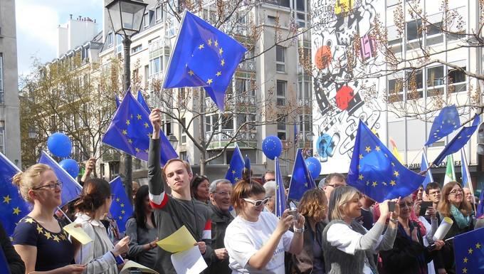 Rassemblement d'Européens lors de la manifestation Pulse of Europe, le 2 avril 2017