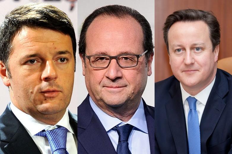 Matteo Renzi, François Hollande et David Cameron étaient en poste en 2014, respectivement en Italie, France et Royaume-Uni