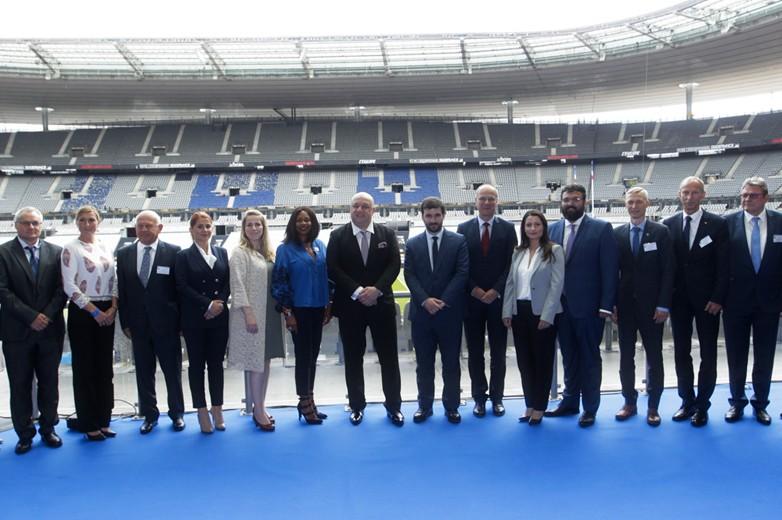Laura Flessel, entourée de ses homologues européens ministres des Sports, le 31 mai 2018 au stade de France