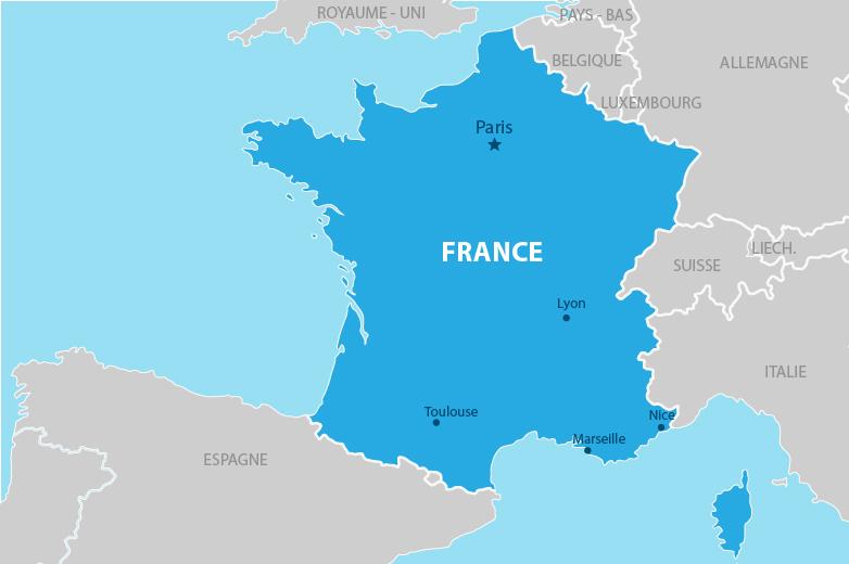 Carte simplifiée de la France métropolitaine