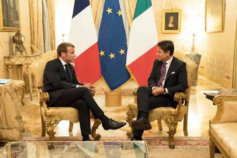 Emmanuel Macron et Giuseppe Conte à Rome, mercredi 18 septembre - Crédits : compte Facebook @GiuseppeConte64