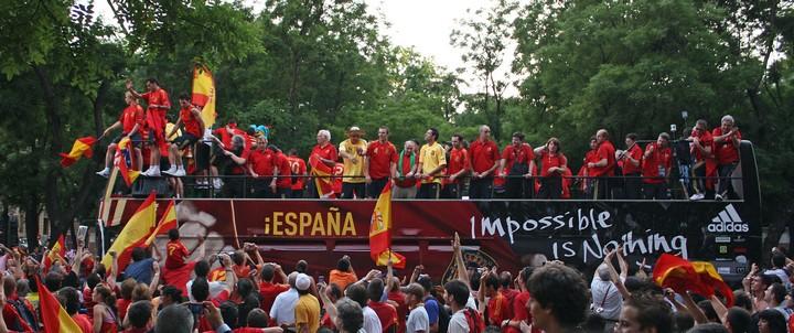 L'équipe d'Espagne victorieuse en 2008