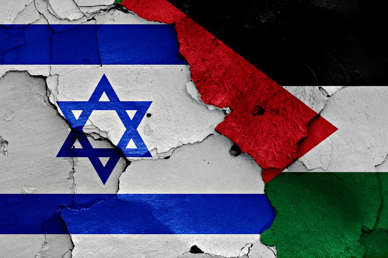Drapeaux israélien et palestinien