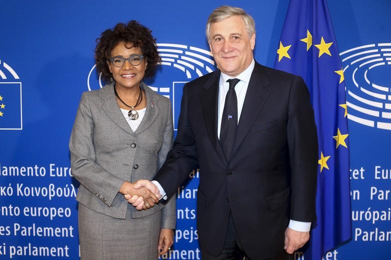 Michaëlle Jean et Antonio Tajani le 9 mars 2017