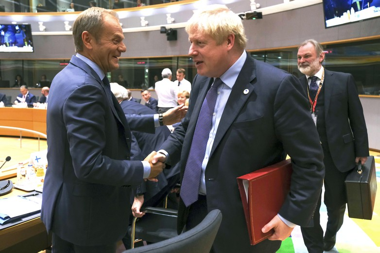Donald Tusk et Boris Johnson, le 17 octobre 2019 - Crédits : Alexandros Michailidis / European Council