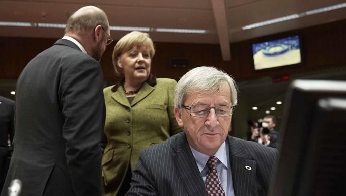 Jean-Claude Juncker Angela Merkel et Martin Schulz