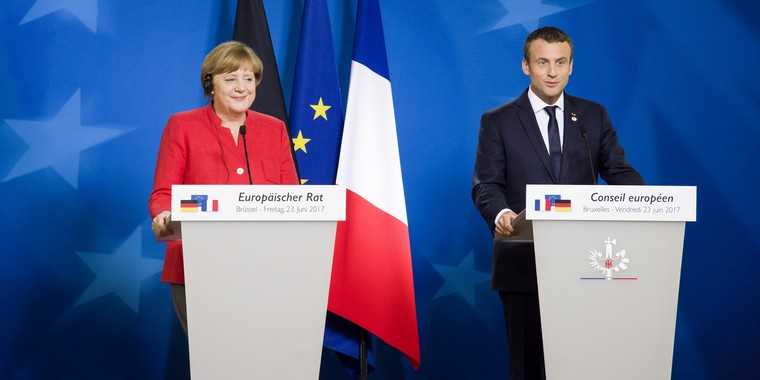 Angela Merkel et Emmanuel Macron le 23 juin 2017 à Bruxelles