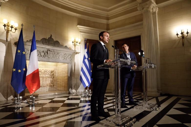 Emmanuel Macron et Alexis Tsipras le 8 septembre 2017