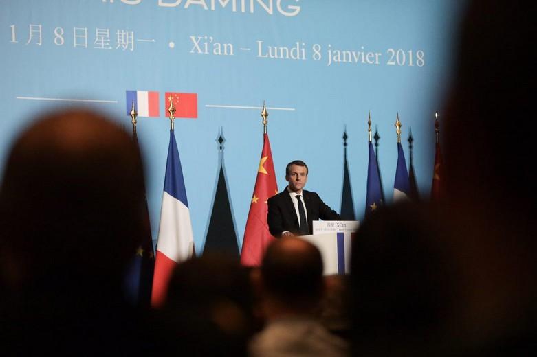 Emmanuel Macron lors de son discours à Xian