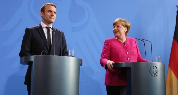 Emmanuel Macron et Angela Merkel, le 15 mai 2017 à Berlin