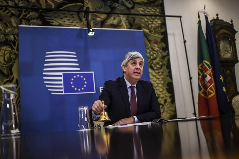 Le président de l'Eurogroupe Mario Centeno ouvre la réunion des ministres de l'Economie et des Finances de la zone euro le 7 avril 2020 / Crédits : Union européenne
