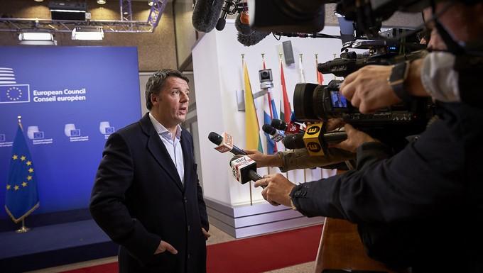 Matteo Renzi à l'issue du premier jour du Conseil européen, le 20 octobre 2016