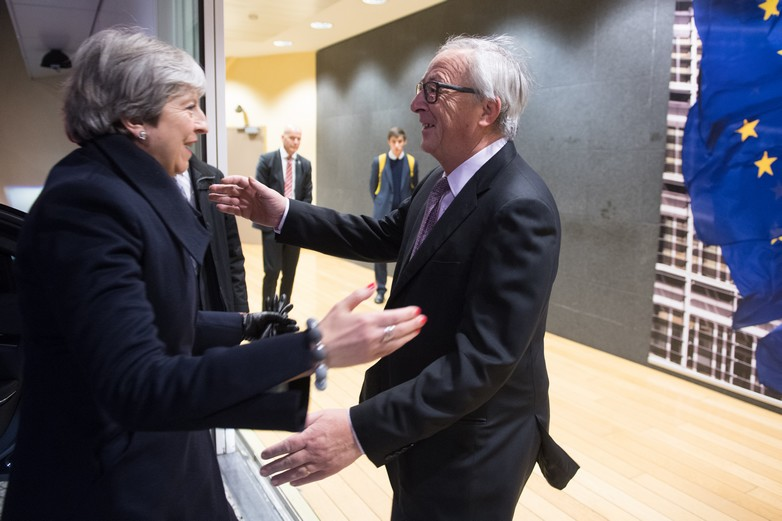 Theresa May et Jean-Claude Juncker le 8 décembre 2017 à Bruxelles