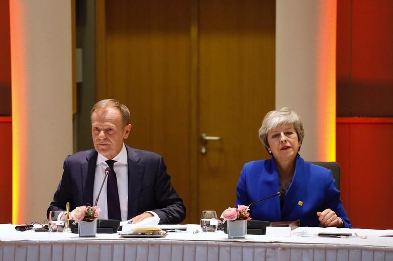 Donald Tusk et Theresa May, le 10 avril 2019, lors d'un Conseil européen sur le Brexit à Bruxelles
